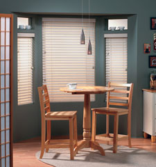 "Design Basics 2"" wood blind shown in color Designer White"