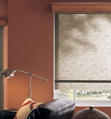 Bali roller shade shown in color Linen Walnut