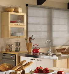 Bali Lattice (5% Openness) roller shade shown in color Pewter