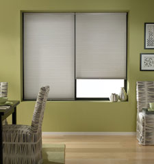 Light Filtering Cordless cellular shade shown in colour Platinum