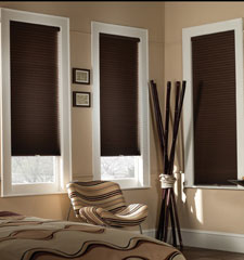 Blackout Cordless cellular shade shown in colour Chocolate